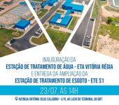 Inauguração da ETA Vitória Régia e entrega da ampliação da ETE-S1 acontecem nesta sexta (23), com a presença do Ministro do Desenvolvimento Regional.